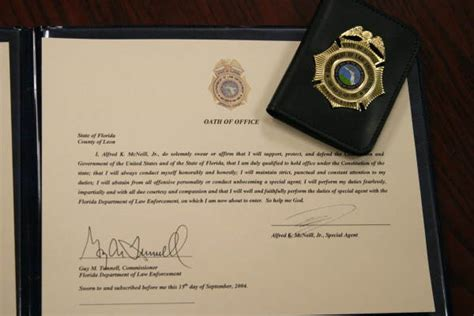 Florida Department Of Enforcement Records Florida Memory Oath Of Office Certificate And Badge For Special Alfred E