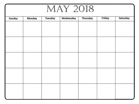 printable calendar for may 2018 may 2018 printable calendar templates