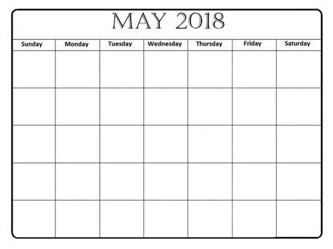 blank 2018 calendar template may 2018 calendar printable templates