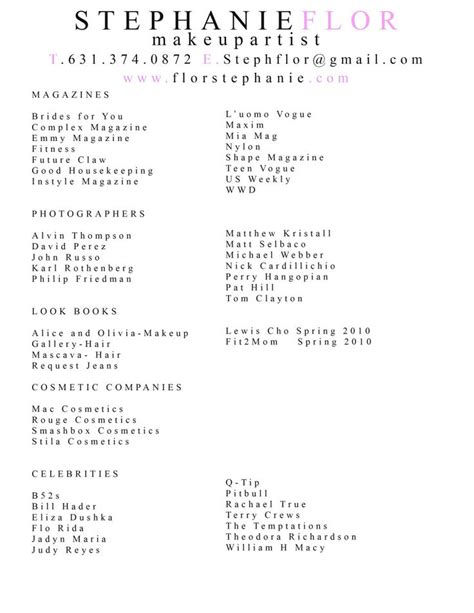 exle of makeup artist resume 25 best ideas about artist resume on graphic