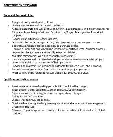 Construction Estimator Resume Sle by Construction Description Template 28 Images 8 Apprentice Description Template Plan Template