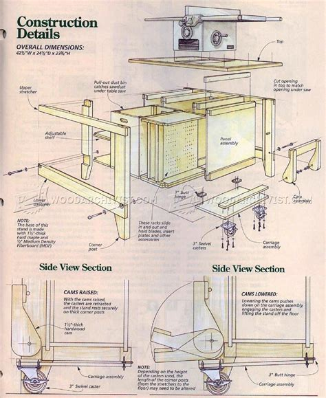 table saw stand plans woodarchivist