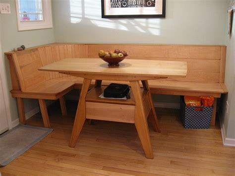 Wooden Kitchen Table With Bench by Bill Groot Maple Wood Kitchen Table And Built In Bench