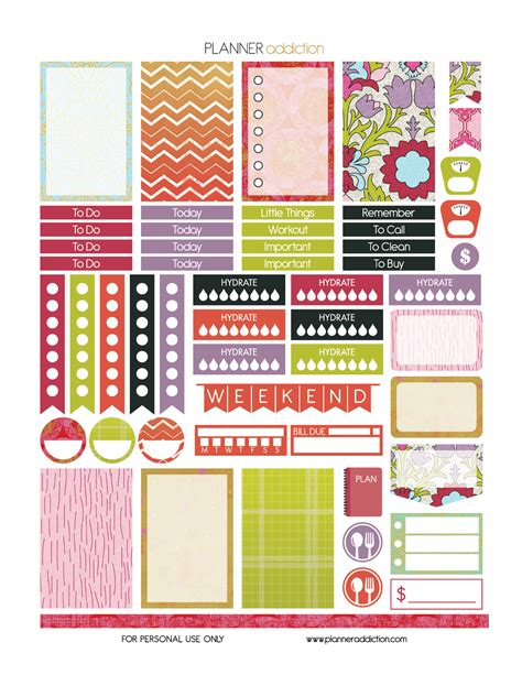 happy planner free printable stickers summer planner addiction