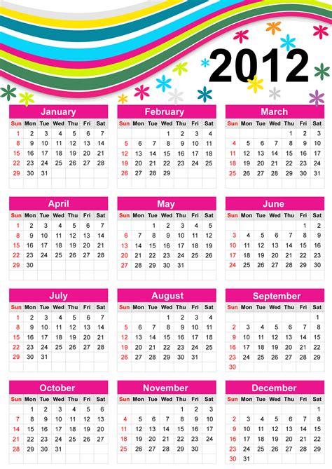 Calendario Original 2012 Vetores Calendario 2012 L T Goodies