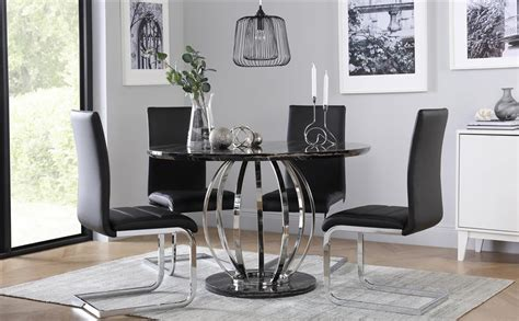 Dining Room Furniture Perth Savoy Black Marble And Chrome Dining Table With 4 Perth Black Chairs Only 163 499 99