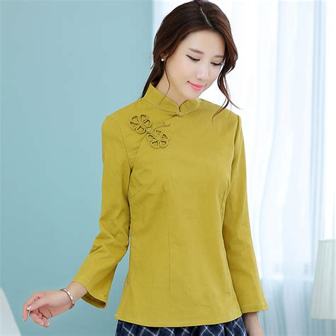 Blouse Fashions Import 2209 Yellow mustard yellow sleeve mandarin collar blouse for traditional clothes