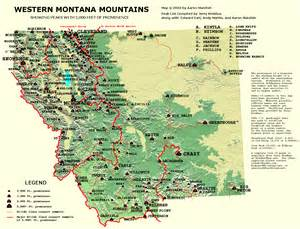 Map Of Western Montana western montana prominence map