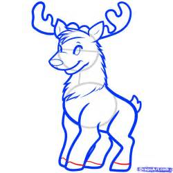 how to draw a christmas deer reindeer step by step
