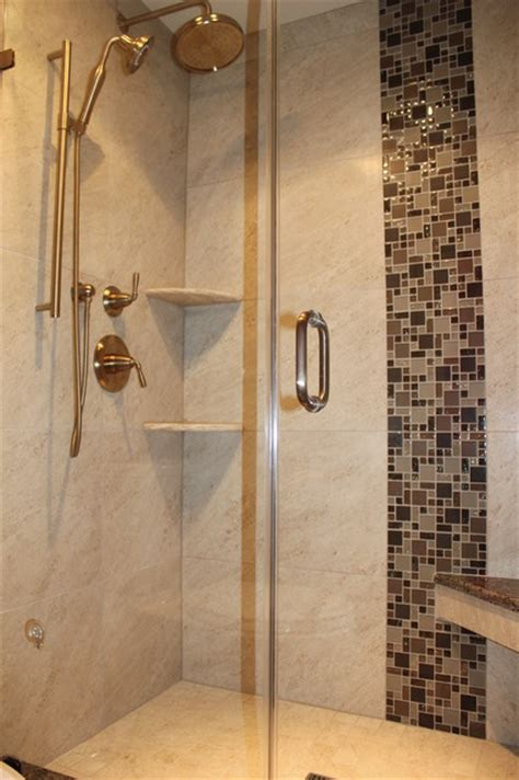 Cream Kitchen Tile Ideas by Verticle Shower Accent Tile Transitional Bathroom