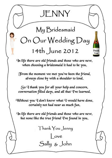 thank you letter to on wedding day thank you letter wedding bridesmaids