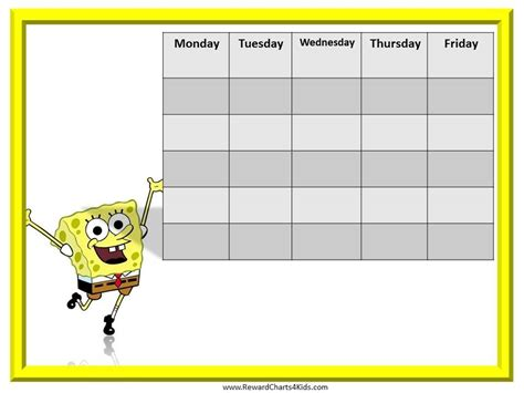 free printable weekly reward charts spongebob reward chart