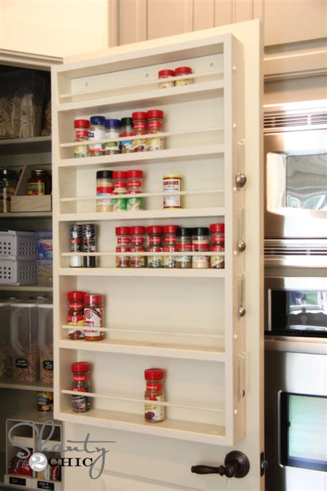 diy spice rack on the door pantry ideas diy door spice rack shanty 2 chic