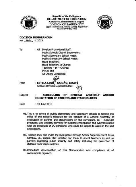 Sle Memo General Assembly Division Memo No 66 S 2013 Scheduling Of General Assembly And Or Orientation Of Parents And