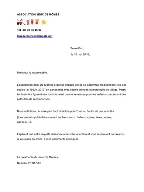 Demande De Catalogue Lettre Application Letter Sle Modele De Lettre Demande De Lots Pour Kermesse