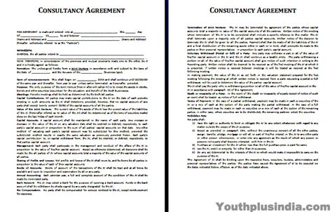 consultancy agreement template youth plus india
