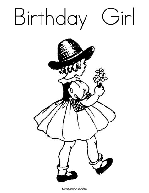 coloring page birthday girl birthday girl coloring page twisty noodle