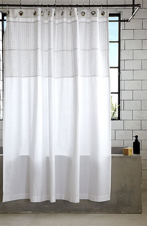 white cotton shower curtain decoist