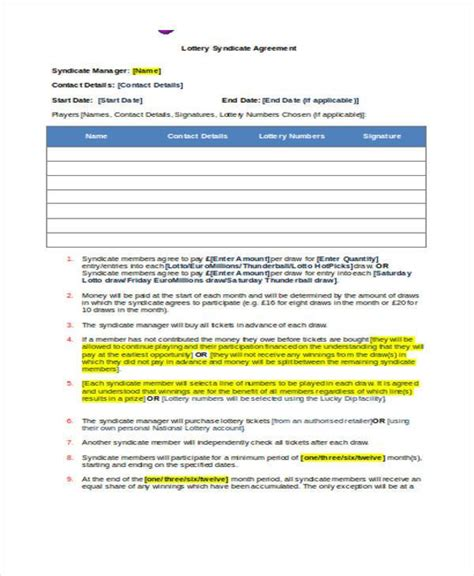 euromillions syndicate agreement template 8 lottery syndicate agreement form sles free sle