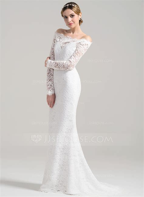 Sheath/Column Off the Shoulder Sweep Train Lace Wedding Dress (002084711)   Wedding Dresses