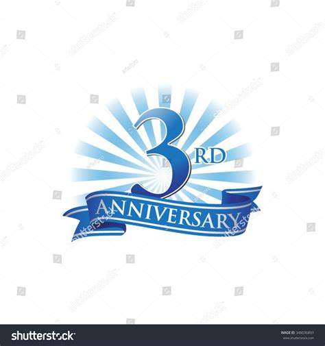 3rd anniversary images 3rd anniversary ribbon logo blue rays stock vector 348036893