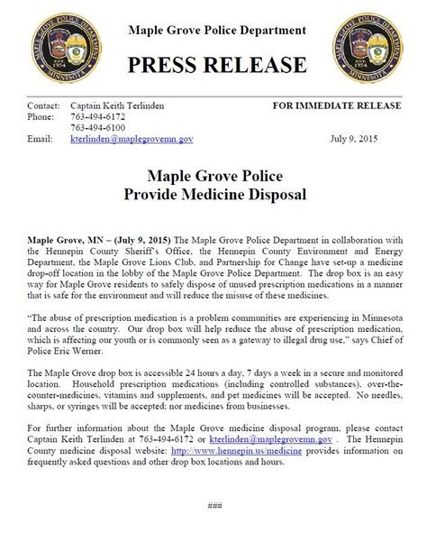 Press Release Letterhead Maple Grove Department Crime Prevention National Out Citizen S Academy City