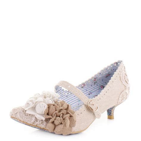 irregular choice dayz white low kitten heel