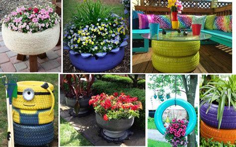 imagenes de jardines con neumaticos 30 ideas incre 237 bles para reciclar neum 225 ticos ideas