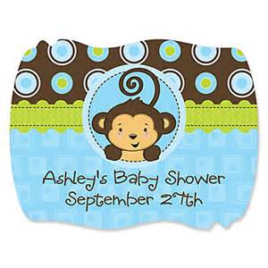 blue monkey boy personalized baby shower squiggle