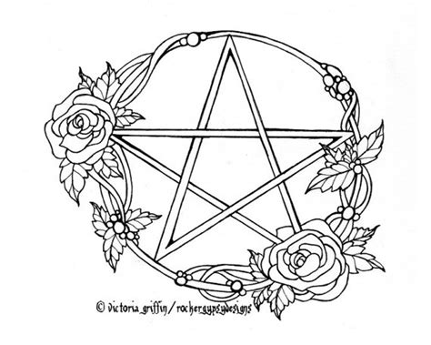 pagan wiccan wicca pentacle printable adult coloring