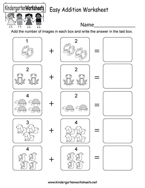 Easy Addition Math Worksheets by Free Printable Easy Addition Worksheet For Kindergarten