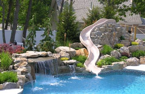 Backyard Inflatable Water Park Custom Rock Waterfall With Water Slide From Pool Town In