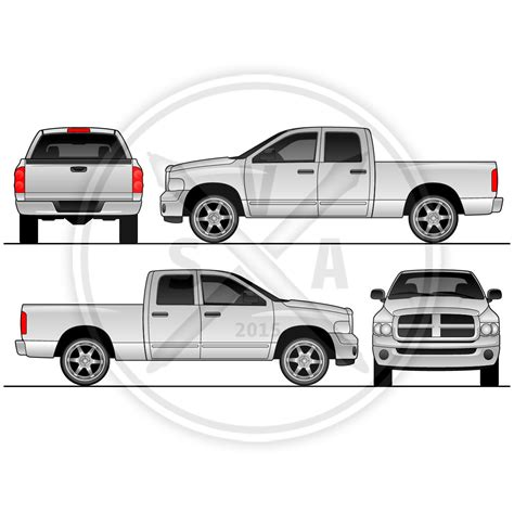Dodge Ram Quad Cab Vehicle Outline Stock Vector Art Dodge Ram Wrap Template