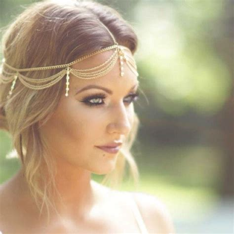how to make headpiece jewelry boho gold draping chain fringe rhinestone hair cuff