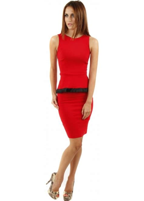 Contrast Trim Peplum Dress vesper vesper stevie dress peplum pencil dress