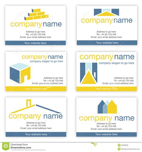 set of six real estate or builders business cards stock