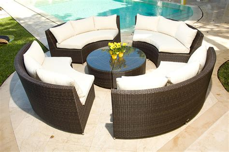 Curved Outdoor Patio Furniture Veranda 5 Resin Wicker Curved Outdoor Sectional W Coffee Table