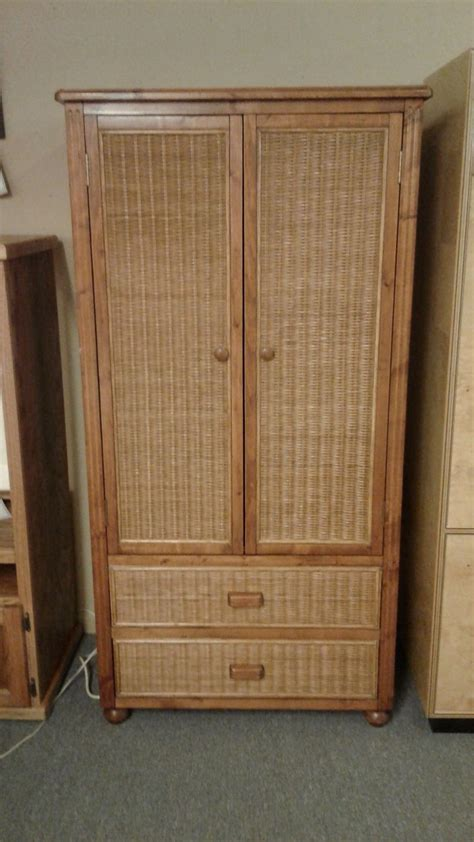 wicker armoire wicker wood wardrobe armoire delmarva furniture consignment