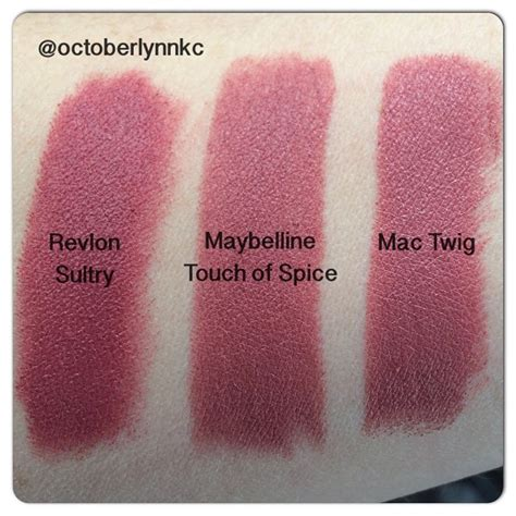 Maybelline Touch Of Spice these shades are so similar left to right revlon matte
