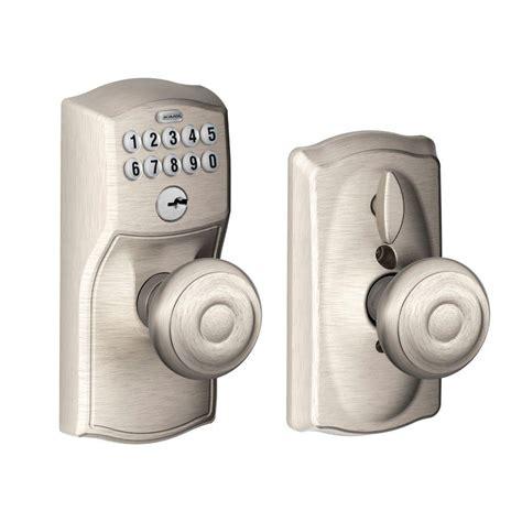 Schlage Camelot Satin Nickel Keypad Entry With Flex Lock Interior Keypad Door Lock