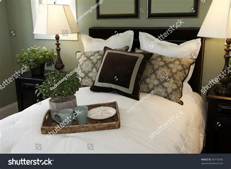 luxury bedroom stylish decor bed tray stock photo