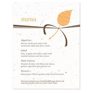embrace plantable menu card plantable seed wedding menu cards catalog botanical paperworks