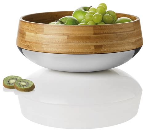 modern fruit bowl kontra bamboo steel fruit salad bowl stelton modern