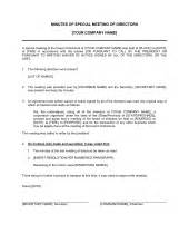 minutes of meeting of directors template amp sample form