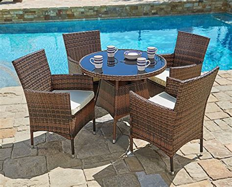 All Weather Wicker Dining Table And Chairs Suncrown Outdoor Furniture All Weather Wicker Dining Table And Chairs 5 Set