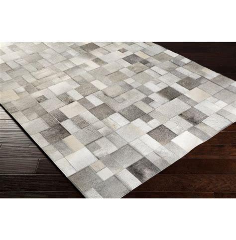 Cowhide Tile Rug Bursa Global Bazaar Mondrian Tile Grey White Cowhide Rug