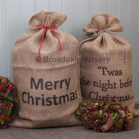 large christmas hessian sack bakers twine stocking santa