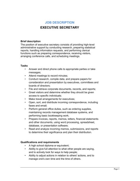 executive description template sle form biztree
