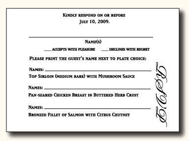 Dinner Response Card Template by 1000 Images About Wedding Rsvp On Response