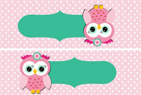 owl printable party kit 15 a 241 os con buhita rosa invitaciones y etiquetas para
